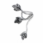 Amira's Burnished Silver Tone Leaf Ear Cuff