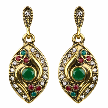 Amitra's Vintage Green and Red Rhinestone Dangle Earrings