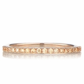 Ana's Rose Goldtone and Champagne CZ Wedding Band