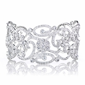 Anastasia's Fancy Filigree and Flower CZ Cuff Bracelet