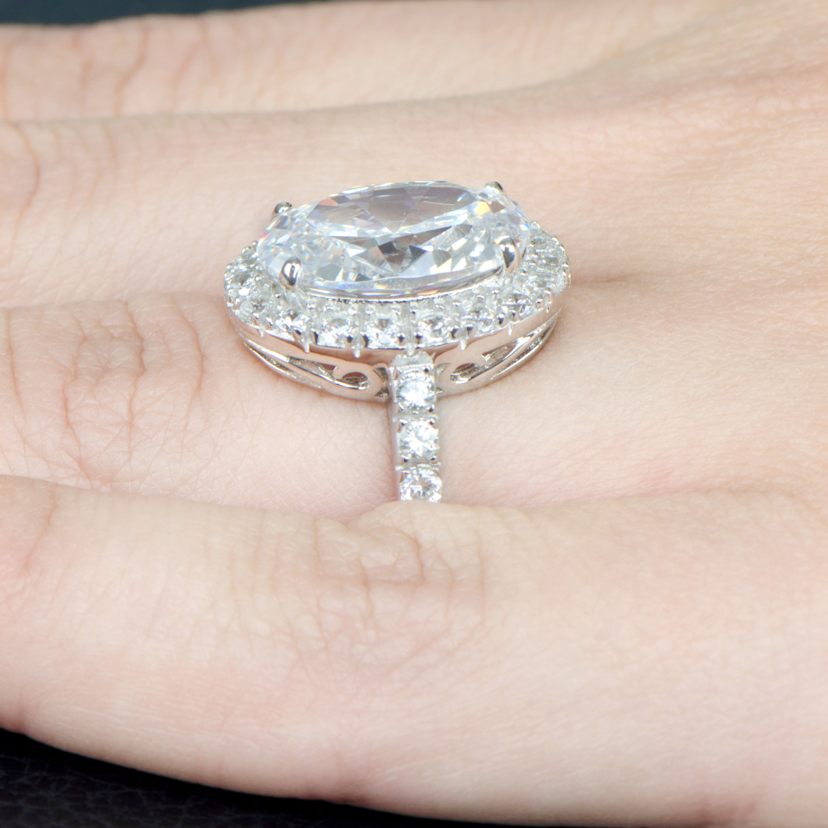 Anastasia s Oval Cut CZ Wedding Ring with Halo 8 Carats