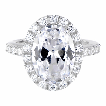 Anastasia's Oval Cut CZ Wedding Ring with Halo - 8 Carats