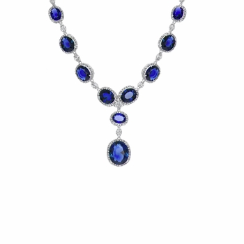 Angelica's Fancy Blue CZ Necklace - 16 Inches