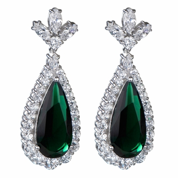Angie's Silvertone Green CZ Earrings