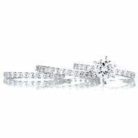 Angita's Round Cut CZ Wedding Ring Trio Set