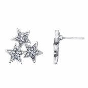Aniya's Silver Tone Star Cluster Stud Earrings
