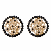 Anna's Gold and Black Faux Pearl Button Clip On Earrings