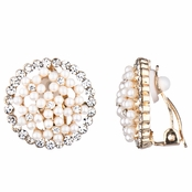 Anna's Gold and Faux Pearl Button Clip On Earrings