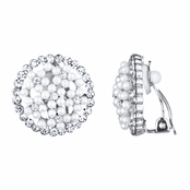 Anna's Silver and Faux Pearl Button Clip On Earrings