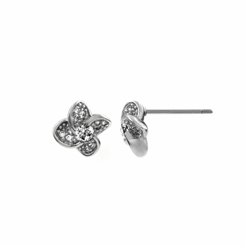 Annick's Four Petal Flower CZ Stud Earrings