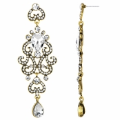Antoinette's Fancy Bollywood Antique Dangle Earrings - Clear