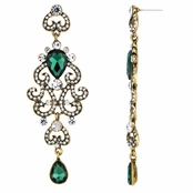 Antoinette's Fancy Bollywood Antique Dangle Earrings - Emerald