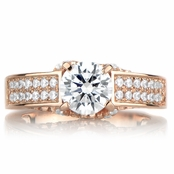 Antonia's Rose Gold Tone and Round Cut CZ Engagement Ring