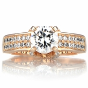 Antonia's Rose Gold and Round Cut Cubic Zirconia Engagement Ring