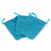 Aqua Blue Velour Large Gift Pouch Set of 3 - 4 Inches