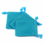 Aqua Blue Velour Small Gift Pouch Set of 3 - 2 Inches