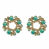 Arabella's Rhinestone Wreath Cluster Stud Earrings - Green