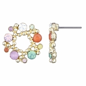 Arabella's Rhinestone Wreath Cluster Stud Earrings - Multicolor