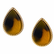 Arabelle's Goldtone Pear Tortoiseshell Stud Earrings