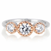 Arely's Three Stone Anniversary Ring - Two Tone