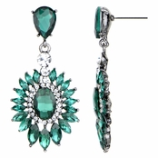 Aretha's Fancy Dark Green CZ Drop Earrings