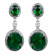 Aria's Fancy CZ Drop Earrings - Emerald
