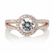 Ariane's 1ct Round Cut CZ Rose Gold Tone Halo Engagement Ring