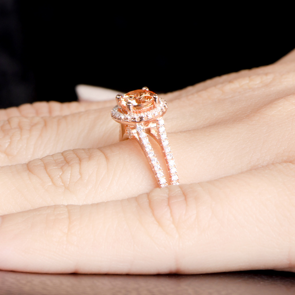 Ariane s Rose Gold Engagement Ring Champagne CZ with Halo