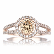 Ariane's Rose Gold Tone Engagement Ring - Champagne CZ