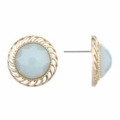 Ariella's Light  Blue Stone Round Button Stud Earrrings