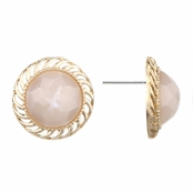 Ariella's Light Pink Round Button Stud Earrrings