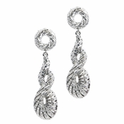 Arlen's Fancy Rhinestone Earrings - Silver Tone