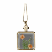 Arlo's Gold Dried Flower Glass Locket Necklace - Orange & Green