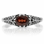 Arwin's Oval Garnet Scroll Ring