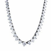Ashanti's 18in Round Cut Black and White Graduated CZ Tennis Necklace