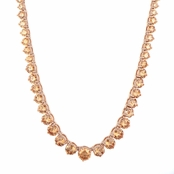 Ashanti's 18in Round Cut Rose Gold & Peach CZ Graduated Tennis Necklace