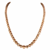Ashanti's 18in Round Cut Rose Goldtone & Peach CZ Graduated Tennis Necklace