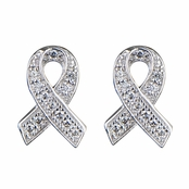 Ashia's Hope Ribbon CZ Earrings