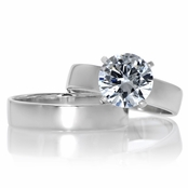 Ashlynn's Polished CZ Solitaire Wedding Ring Set