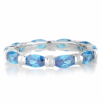 Astrid's Blue Marquise Cut CZ Eternity Band