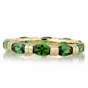 Astrid's Simulated Emerald Marquise Cut CZ Gold Tone Eternity Band