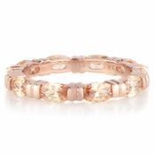Astrid's Rose Goldtone and Peach Marquise Cut CZ Eternity Band