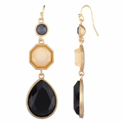 Aubra's Triple Drop Dangle Earrings - Simulated Onyx