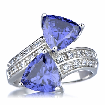 Trillion Cut Simulated Tanzanite Anniversary Ring