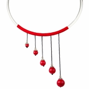 Avery's Red Graduated Bead Choker Necklace
