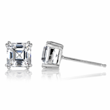 Avril's 1.2 TCW Asscher Cut CZ Stud Earrings