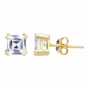 Avril's 5mm Asscher Cut CZ Gold Stud Earrings - 1.2 TCW