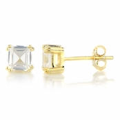 5mm Asscher Cut CZ Gold Stud Earrings - 1.2 TCW