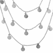 Ayla's 60 in. Brushed Dangle Disc Layered Necklace - Silver