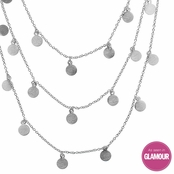 Ayla's Silvertone 60 in. Brushed Dangle Disc Layered Necklace
